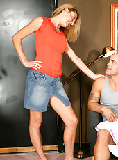 Brenda James is a hot and horny MILF who decides to fuck one of her son