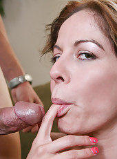 Kora Cummings has hot sex with younger guy and has loud orgasms.