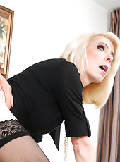 Hot blonde MILF Jodie Stacks kicks one guy out and makes the other guy fuck her on the couch after a massage.