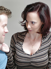 Redhead hot mom fucks younger cock because her pussy is wet and she is horny.