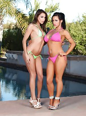 Jenna Presley and Celeste Star get real hot in their bikinis!