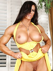 The gorgeous bodybuilder Angela Salvagno shows off her big huge strong body and big pussy and clit too.