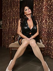 Lots of thigh highs, heels and black dildo play with the sexy Rachel Aziani.