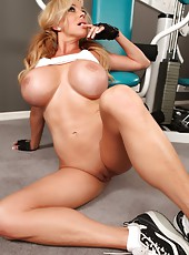 Rachel Aziani gets in a sexy workout while stripping off her clothes.