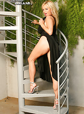 Rachel Aziani in sexy black dress