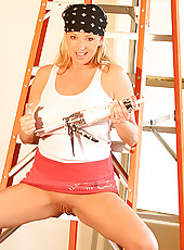 "I was just finishing up a remodel job...and as I crawled up & down the ladder I thought what a great photo shoot idea!! I know how sexy ""up skirt"" shots can be!"