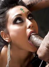 Busty Indian Pornstar, Priya Anjali Rai, in her first interracial scene. Watch her as she sucks a big black cock and gets a monster load of cum dumped on her tits.