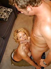 Sexy blonde milf with tan lines getting some hunter cock