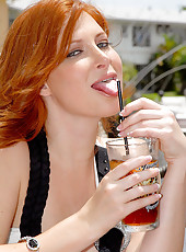 Sexy redhead milf picked up at the bar comes home to a hard cock in these hot fuck pics