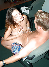 Brunette milf gets boned by the hunter in her office on break