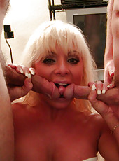 Three hot milfs suck cock and get banged hard