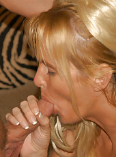 Hot blonde milf gives a blowjob in her convertible then gets fucked at home