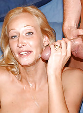 Blonde milf with great tits and ass rides cock like a champ