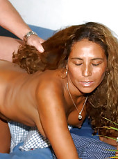 Tan latina milf getting hard cock injection fromm the hunter