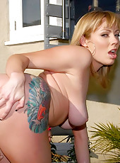 Hot blonde big tits adriana gets her pussy pounded in her flower garden in these hot reality gardener fucking pics