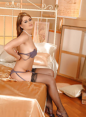 Horny Lila in stockings, suspenders