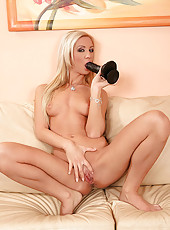 Hot Cameron Gold playing with toy