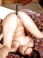 Horny asian teasing with chopsticks