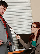 Redhead hottie Penny Pax just got a visit from her former co-worker after she was fired. Penny always thought he was a very handsome man and with all the stress of losing her job she needs some release. She comes on to him and takes his cock all over her