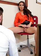 Jared the new summer intern walks into Sandee's office and after a quick exchange of words Sandee has her own idea of work for the intern. Sandee asks Jared to close the door and she quickly slides off her panties from under her skirt while his back