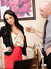 Alektra Blue is horny at the office and stuck so she decides to fuck a worker and have hot sex on her desk.
