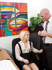 Blonde worker babe wants a raise and she fucks to get one.