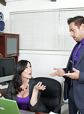 Busty brunette Kendra Lust messed up at work and fucks her boss so she does not get fired.