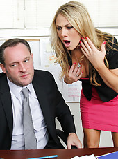 Busty Blonde worker Amber Ashlee has hot sex with her co-worker and loves getting fucked by his big cock.