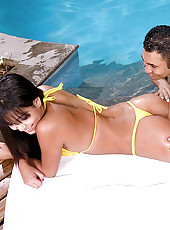 Watch this horny hot brazilian babe fucked hard in her ass in this yellow bikini sex party