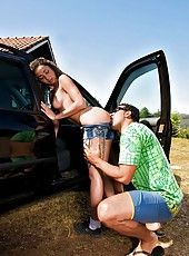 Check this super hot long leg brazilian babe get fucked hard against the truck in this hot safari fuck pic set