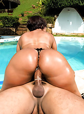 Big thick ass brazilian booty babe gets drilled pool side in these hot fucking cumfaced pics