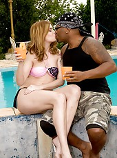 Check out hot ass brazilian red head take a big black sugar stick up her tight ass and pussy in these hot screaming pool side fucking pics