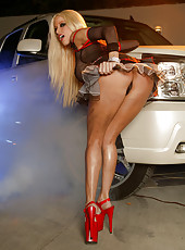 Gina Lynn and race car smoke