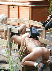 Three hot bitches get horny doing yard work