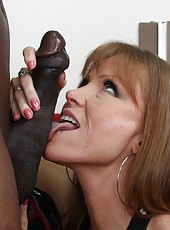 Redhead busty milf Darla Crane anal cock riding on huge black cock