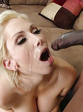 Busty blonde pornstar Kasey Grant ride huge black dick and swallow cum