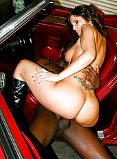 Busty Syren Demer suck huge ebony cock and then ride on it