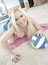 Glamorous babes with big tits Madison Scott and Nika Noire playing pool volleyball