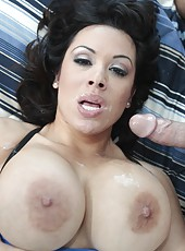 Brunette milf with huge breast Sienna West fucked and licked after great blowjob