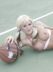 Hot blonde milf Brooke Belle enjoys two things - basketball and sweet striptease