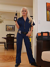 Sumptuous blonde cop Jacky Joy with sexy face, amazing big melons and hot ass