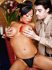 Asian bombshell with big boobs Riley Evans fucks with the biggest dick in her life