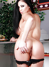 Pair of huge succulent boobs, powerful ass and sexy straight black hair by Audrey Bitoni