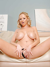 Great blonde milf Katie Kox nudes her giant tits and then takes off her panties
