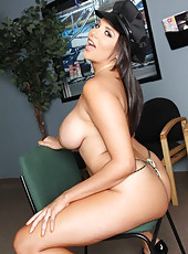 Luxury car drived Missy Martinez takes off her uniform to show off her curvy forms