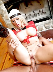 Horny blonde milf with hot eyes with large tits Brooke Haven fucked in her uniform