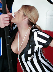 Busty captain of the hockey team Charisma Cappelli pounded in the dressing room