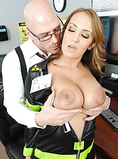 Horny Trina Michaels seduces big dicked office worker with her giant tits