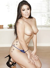Appetizing Asian brunette London Keyes takes off her uniform and amazes