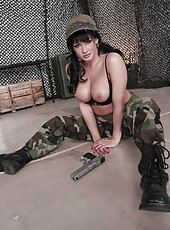 Busty brunette milf in sexy camouflage uniform Tory Lane loves big pistols